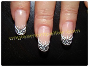 rallongement des ongles transprent d�co gel blanc