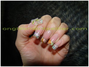 pose faux ongles gel d�co printemps