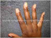 ongles transparents et fimo fruits reduite