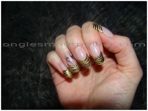 pose faux ongles gel tigr�e